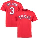 Majestic Russell Wilson Texas Rangers Scarlet Official Name & Number T-Shirt
