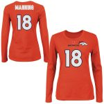 Majestic Peyton Manning Denver Broncos Womens Orange Fair Catch V Name and Number Long Sleeve T-Shirt
