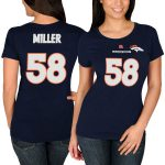 Majestic Von Miller Denver Broncos Women's Navy Blue Fair Catch V Name & Number T-Shirt