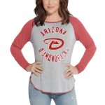 Touch by Alyssa Milano Arizona Diamondbacks Women's Heathered Gray/Red Line Drive Raglan Long Sleeve T-Shirt