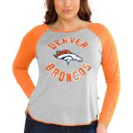 Touch by Alyssa Milano Denver Broncos Women's Gray Plus Size Line Drive Long Sleeve T-Shirt