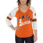 Touch by Alyssa Milano Denver Broncos Women's Orange/White Reflex 3/4-Sleeve Raglan V-Neck T-Shirt
