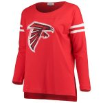 Touch by Alyssa Milano Atlanta Falcons Women's Red Plus Size Free Agent Long Sleeve T-Shirt