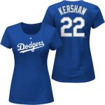 Majestic Clayton Kershaw Los Angeles Dodgers Women's Royal Plus Size Name & Number T-Shirt