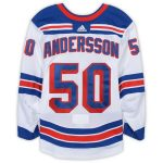 Fanatics Authentic Lias Andersson New York Rangers Game-Used #50 White Set 3 Jersey from the 2018-19 NHL Season - Size 56