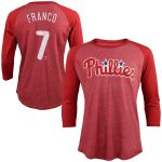 Majestic Threads Maikel Franco Philadelphia Phillies Red Tri-Blend 3/4-Sleeve Raglan Name & Number T-Shirt