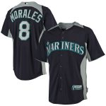 Majestic Kendrys Morales Seattle Mariners Navy Mesh Batting Practice Button-Up Cool Base Jerseys