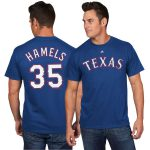 Majestic Cole Hamels Texas Rangers Royal Official Name and Number T-Shirt