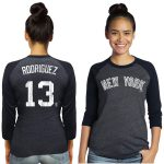 Majestic Threads Alex Rodriguez New York Yankees Women's Navy Name & Number Raglan Three-Quarter Sleeve T-Shirt