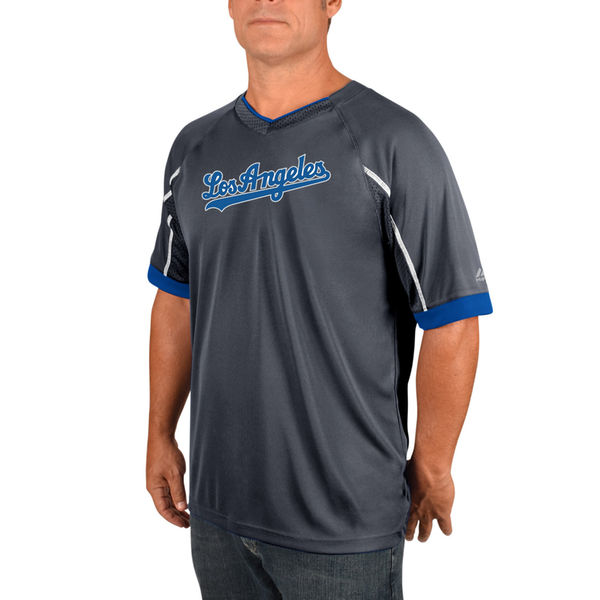 Majestic Los Angeles Dodgers Gray/Royal Intense V-Neck T-Shirt