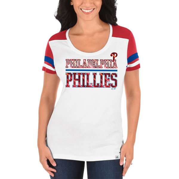 Majestic Philadelphia Phillies Women's White/Red Overwhelming Victory T-Shirt