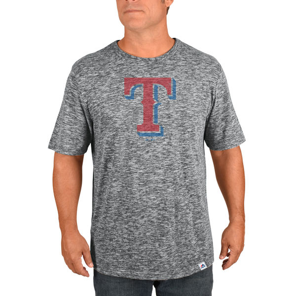 Majestic Texas Rangers Gray Fast Pitch Tri-Blend Slub T-Shirt
