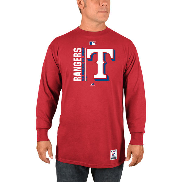 Majestic Texas Rangers Red Authentic Team Icon Long Sleeve T-Shirt