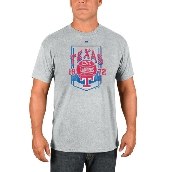 Majestic Texas Rangers Gray Vintage Style T-Shirt