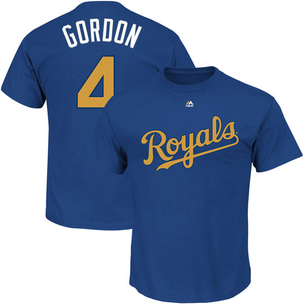 Majestic Alex Gordon Kansas City Royals Royal World Series Champions Gold Program Name & Number T-Shirt