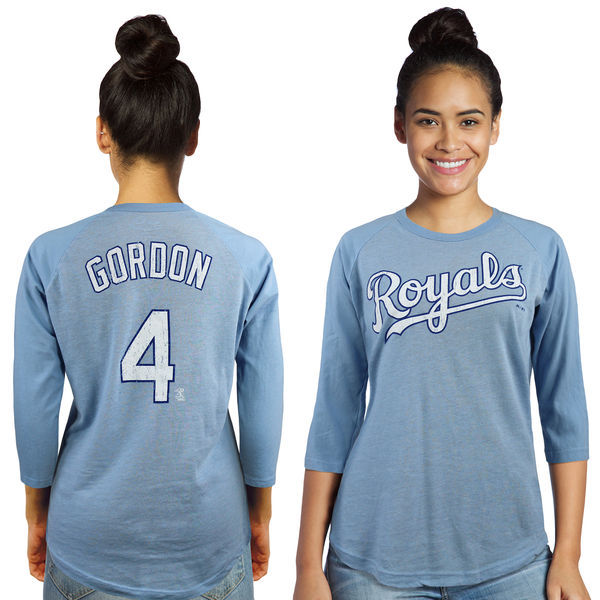 Majestic Threads Alex Gordon Kansas City Royals Women's Light Blue 3/4-Sleeve Raglan Name & Number T-Shirt