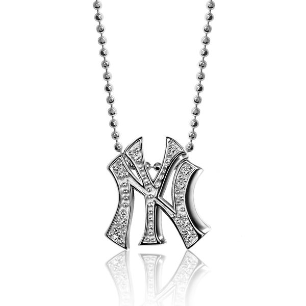 New York Yankees Women's Little Logo 14kt White Gold & Diamond Necklace