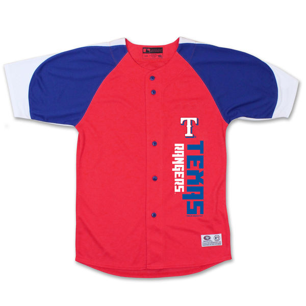 Stitches Texas Rangers Youth Red/Royal Vertical Jersey