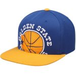 Mitchell & Ness Golden State Warriors Royal/Gold Hardwood Classics XL Logo Two-Tone Adjustable Hat