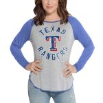 Touch by Alyssa Milano Texas Rangers Women's Heathered Gray/Royal Line Drive Raglan Long Sleeve T-Shirt