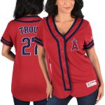 Majestic Mike Trout Los Angeles Angels Women's Red/Navy Absolute Victory Fashion Player Jersey