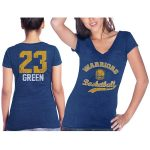 Majestic Threads Draymond Green Golden State Warriors Women's Royal Name & Number Tri-Blend V-Neck T-Shirt