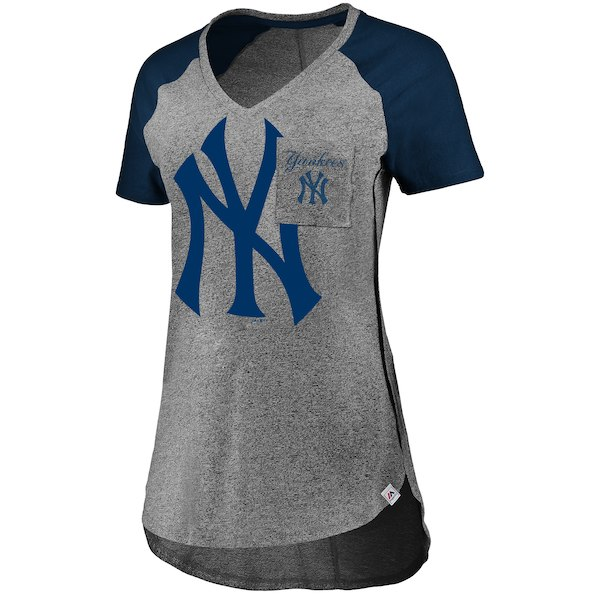 6fdc0dd34 Majestic New York Yankees Women s Gray Navy Static Pocket Raglan V-Neck T- Shirt - Gear Up For Sports