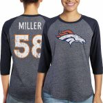 Majestic Von Miller Denver Broncos Women's Navy Player Name & Number Tri-Blend Three-Quarter Sleeve T-Shirt