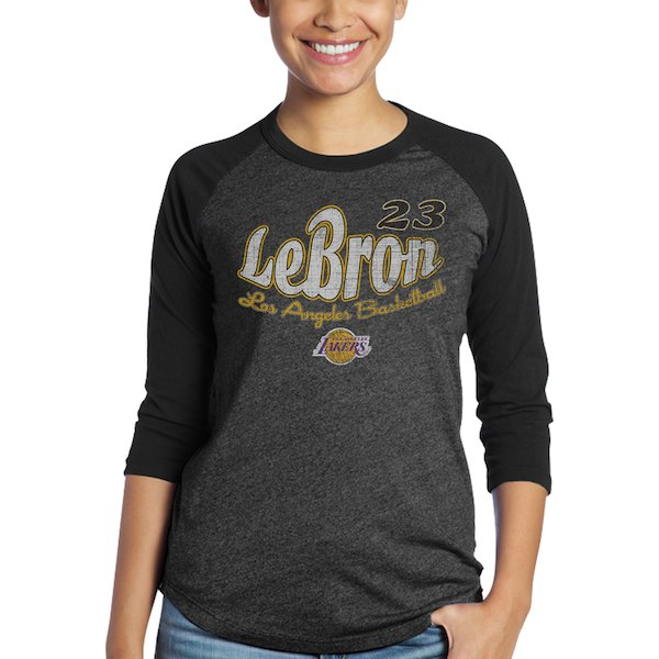 innovative design 33ad1 66072 Majestic Threads Los Angeles Lakers Women's Black Lebron Graphic 3/4-Sleeve  Tri-Blend Raglan T-Shirt