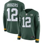 Aaron Rodgers Green Bay Packers Women's Green Therma Long Sleeve Jersey