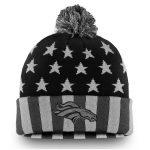 NFL Pro Line by Fanatics Branded Denver Broncos Black/Gray Americana Stars and Stripes Cuffed Knit Hat With Pom