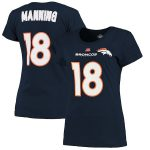 Majestic Peyton Manning Denver Broncos Women's Navy Blue Fair Catch V Name & Number T-Shirt