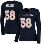 Majestic Von Miller Denver Broncos Women's Navy Fair Catch V Name & Number Long Sleeve T-Shirt