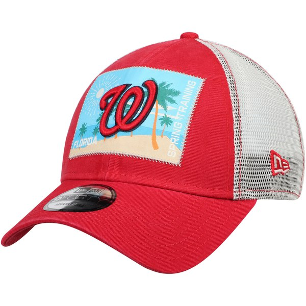 0a5e9556 New Era Washington Nationals Red/White Patched Trucker 3 9FORTY Adjustable  Snapback Hat - Gear Up For Sports