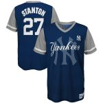 Majestic Giancarlo Stanton New York Yankees Youth Navy/Gray Play Hard Player V-Neck Jersey T-Shirt
