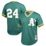 Mitchell & Ness Rickey Henderson Oakland Athletics Youth Green Cooperstown Collection Mesh Batting Practice Jersey
