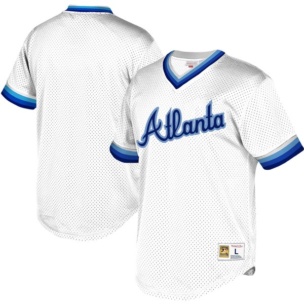 huge discount 45bd8 1e2ed Mitchell & Ness Atlanta Braves Youth White Cooperstown Collection Mesh  Wordmark V-Neck Jersey
