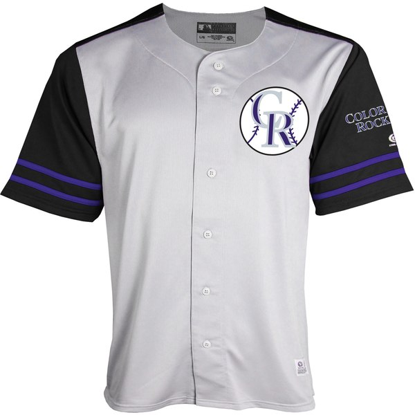 best website 76919 cf356 Stitches Colorado Rockies Youth Gray/Black Team Jersey