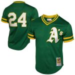Mitchell & Ness Rickey Henderson Oakland Athletics Green 1991 Cooperstown Mesh Batting Practice Jersey