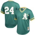 Mitchell & Ness Rickey Henderson Oakland Athletics Green Cooperstown Collection Big & Tall Mesh Batting Practice Jersey