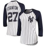 Majestic Threads Giancarlo Stanton New York Yankees Women's White Pinstripe 3/4-Sleeve Raglan Player Name & Number T-Shirt