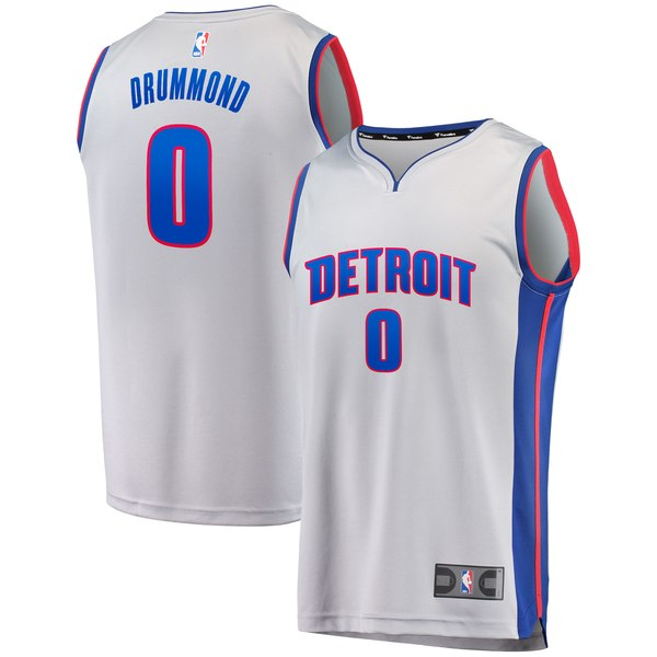 timeless design a4cfb d00bf Fanatics Branded Andre Drummond Detroit Pistons Gray Fast Break Replica  Jersey – Statement Edition