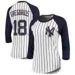 Majestic Threads Didi Gregorius New York Yankees Women's White Pinstripe 3/4-Sleeve Raglan Player Name & Number T-Shirt