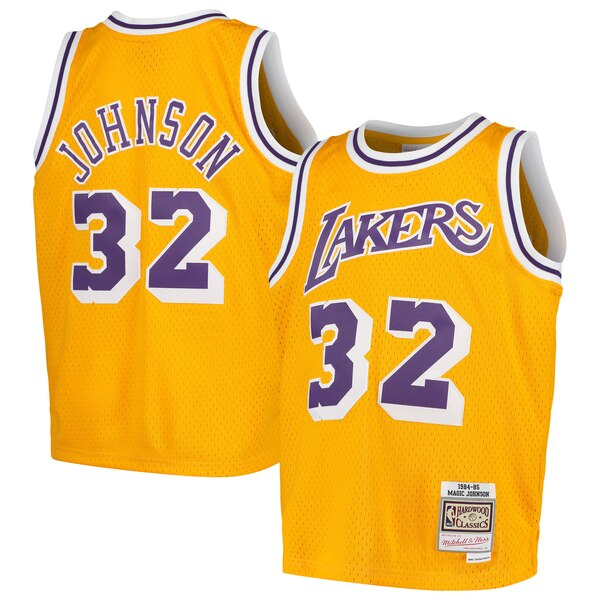 c0bede01 ... Mitchell & Ness Magic Johnson Los Angeles Lakers Youth Gold Swingman  Throwback Jersey May 16, ...