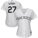 Majestic Trevor Story Colorado Rockies Women's White/Purple Home Official Cool Base Player Replica Jersey