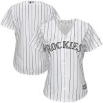 Majestic Colorado Rockies Women's White/Purple Home Cool Base Team Jersey