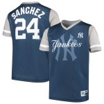 Majestic Gary Sanchez New York Yankees Youth Navy/Gray Play Hard Player V-Neck Jersey T-Shirt