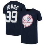 Majestic Aaron Judge New York Yankees Youth Navy Player Cap Logo Name & Number T-Shirt