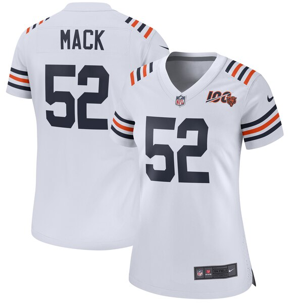 reputable site c403c db854 Nike Khalil Mack Chicago Bears Women's White 2019 100th Season Alternate  Classic Game Jersey