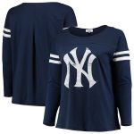 Touch by Alyssa Milano New York Yankees Women's Navy Plus Size Free Agent Wordmark Long Sleeve T-Shirt